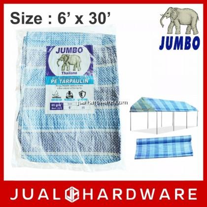 JUMBO Blue/White PE Tarpaulin Sheet 65gsm 6' x 30'