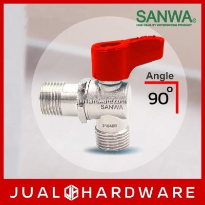 SANWA Mini Angle Ball Valve (Male/Male) - 1/2 Inches